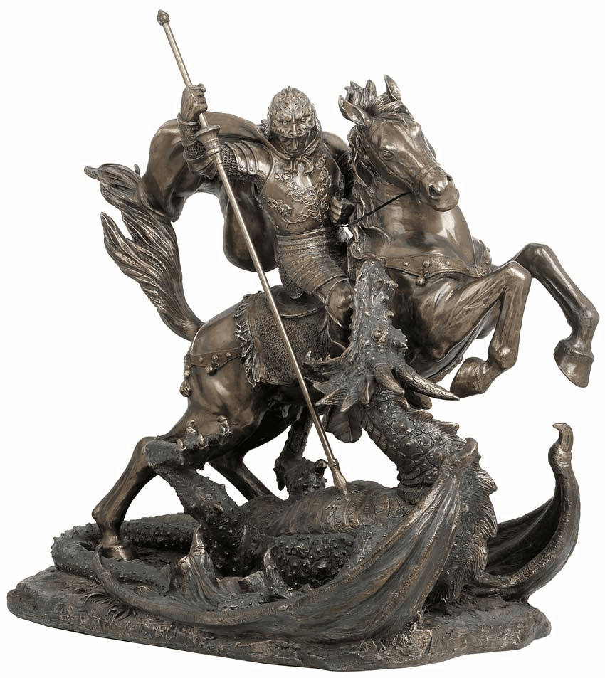 Large St George with Dragon Resin Dipped in Bronze Statue by Veronese