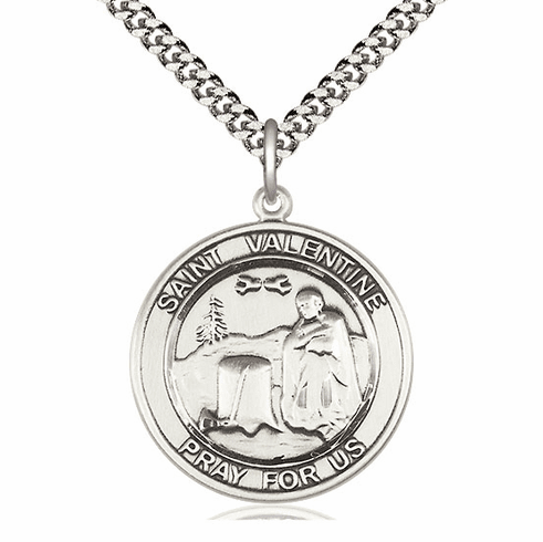 Large St Valentine of Rome Silver-filled Medal Necklace by Bliss