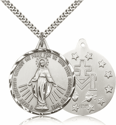 Large Sterling Silver Miraculous Medal Necklace by Bliss