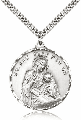 Large Sterling Silver St Ann Saint Pendant by Bliss