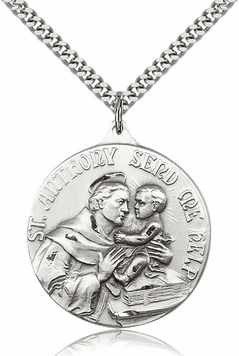 Large Sterling Silver St Anthony Saint Medal Pendant Necklace by Bliss