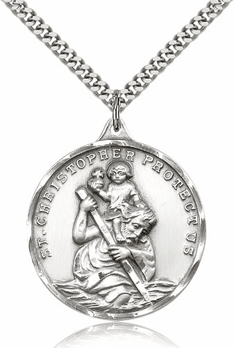 Large Sterling Silver St Christopher Saint Pendant by Bliss