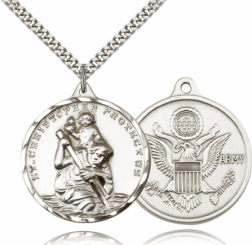 Large Sterling Silver St. Christopher US Army Military Necklace by Bliss