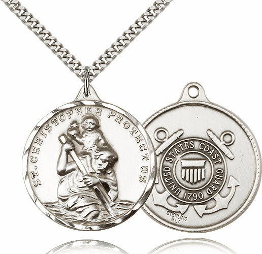 Large Sterling Silver St. Christopher US Coast Guard Pendant by Bliss