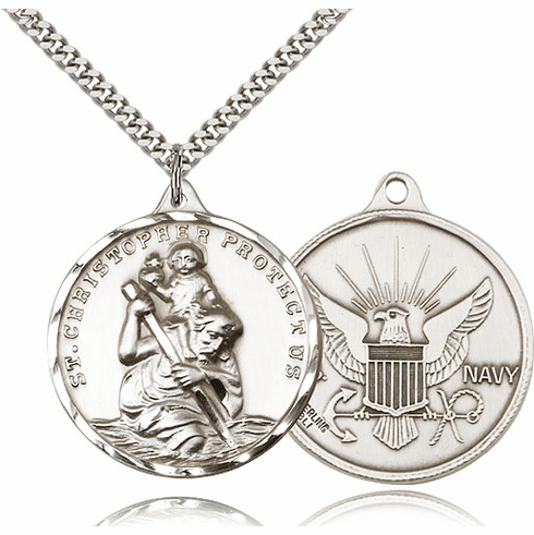 Large Sterling Silver St. Christopher US Navy Necklace by Bliss