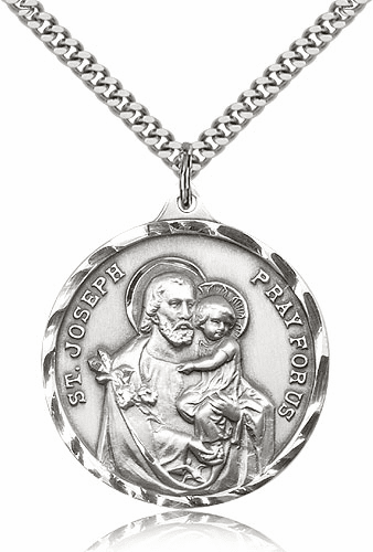 Large Sterling Silver St Joseph Saint Medal Pendant Necklace by Bliss