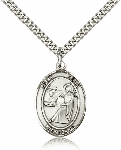 Large Sterling Silver St. Luke the Apostle Patron Saint Medals