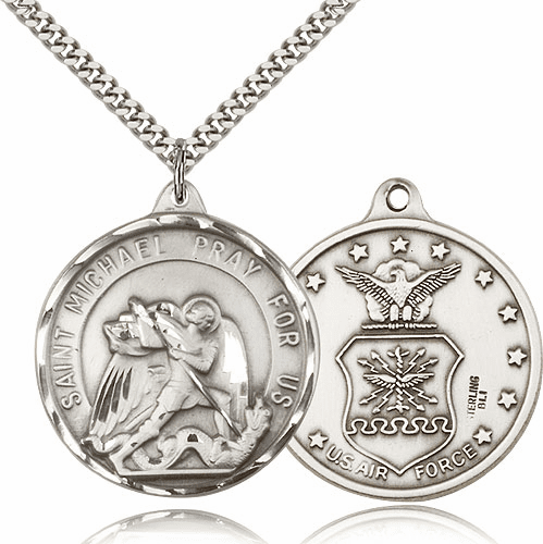 Large Sterling Silver St. Michael Air Force Patron Saint Medal by Bliss