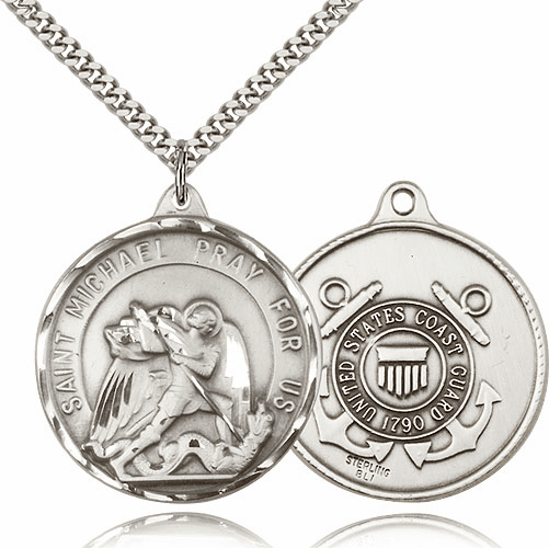 Large Sterling Silver St. Michael Coast Guard Saint Medal by Bliss
