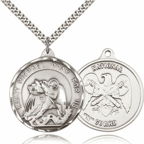 Large Sterling Silver St. Michael National Guard Saint Medal by Bliss