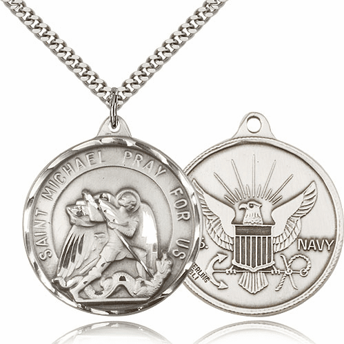 Large Sterling Silver St. Michael Navy Patron Saint Medal by Bliss