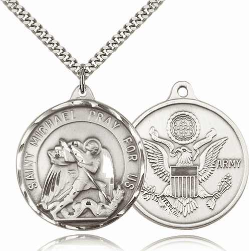 Large Sterling Silver St. Michael US Army Patron Saint Medal by Bliss