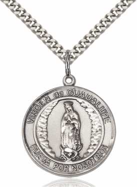 Large Virgen de Guadalupe/Our Lady of Guadalupe Spanish Medal by Bliss
