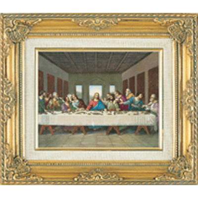 Last Supper under Glass w/Gold Framed Picture by Cromo N B Milan Italy