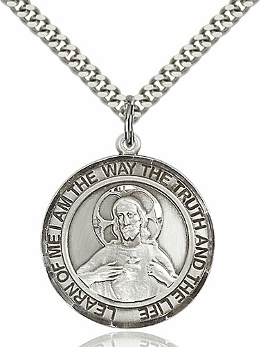 Learn of Me Scapular Round Patron Saint Medal Necklace by Bliss