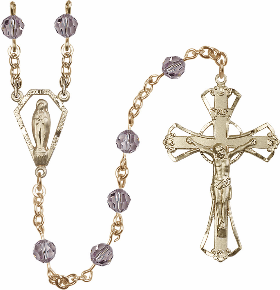 Light Amethyst 6mm AB Swarovski 14kt Gold Praying Madonna Prayer Rosary by Bliss