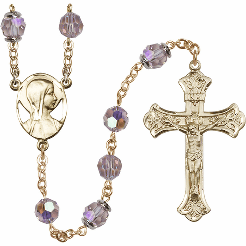 Light Amethyst Swarovski 8mm Aurora Borealis Crystal 14kt Gold-filled Rosary by Bliss