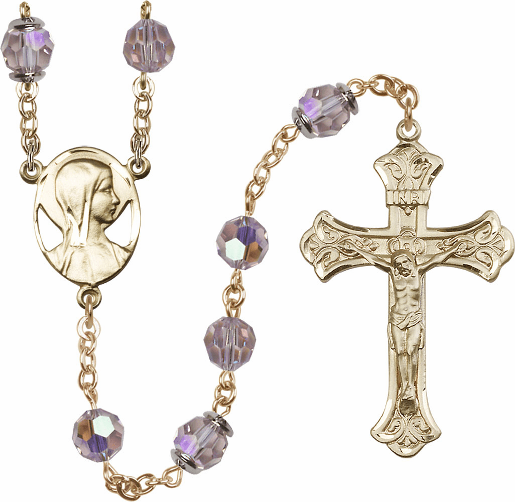 Light Amethyst Swarovski 8mm Aurora Borealis Crystal 14kt Gold Rosary by Bliss