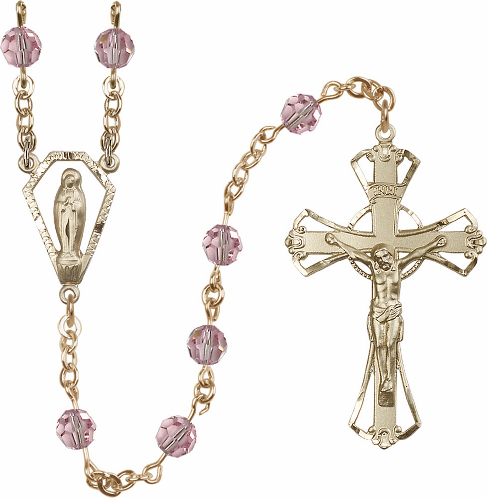Light Rose 6mm AB Swarovski 14kt Gold Praying Madonna Catholic Rosary by Bliss