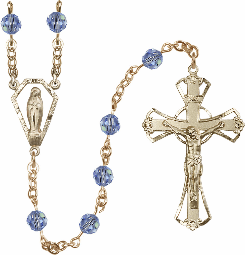 Light Sapphire 6mm Swarovski 14kt Gold Praying Madonna Catholic Rosary by Bliss