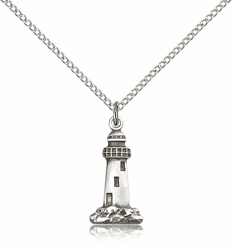 Lighthouse Light of the World Sterling Silver Medal Necklace by Bliss Manufacturing