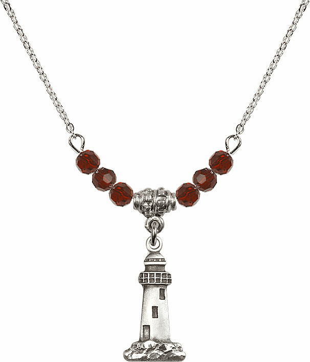 Lighthouse Sterling Silver Medal Sterling 4mm January Garnet Swarovski Crystal Necklace by Bliss Mfg