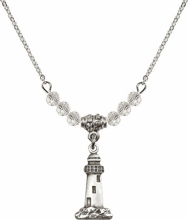 Lighthouse Sterling Silver Medal Sterling April 4mm Swarovski Crystal Necklace by Bliss Mfg