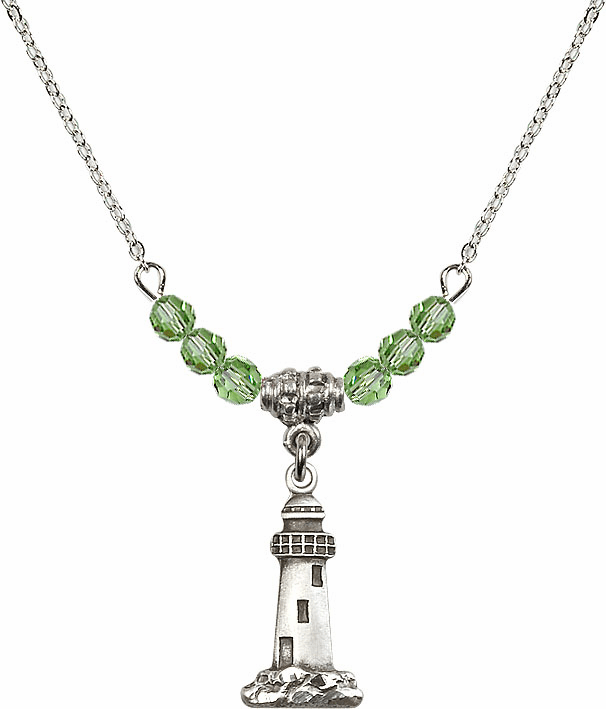 Lighthouse Sterling Silver Medal Sterling August Peridot 4mm Swarovski Crystal Necklace by Bliss Mfg