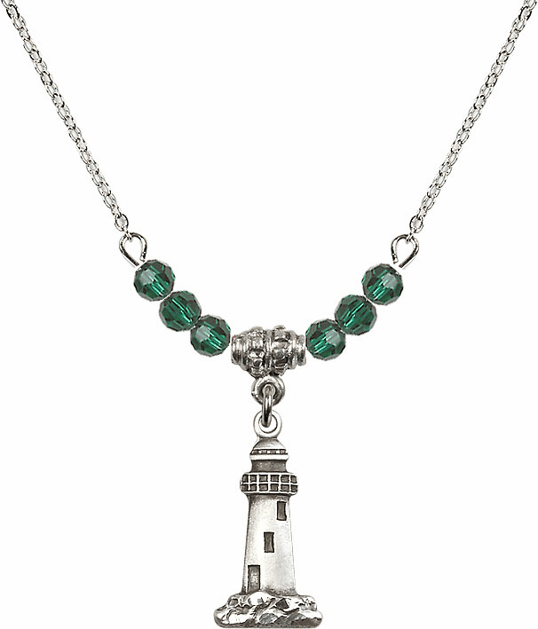 Lighthouse Sterling Silver Medal Sterling May Emerald 4mm Swarovski Crystal Necklace by Bliss Mfg