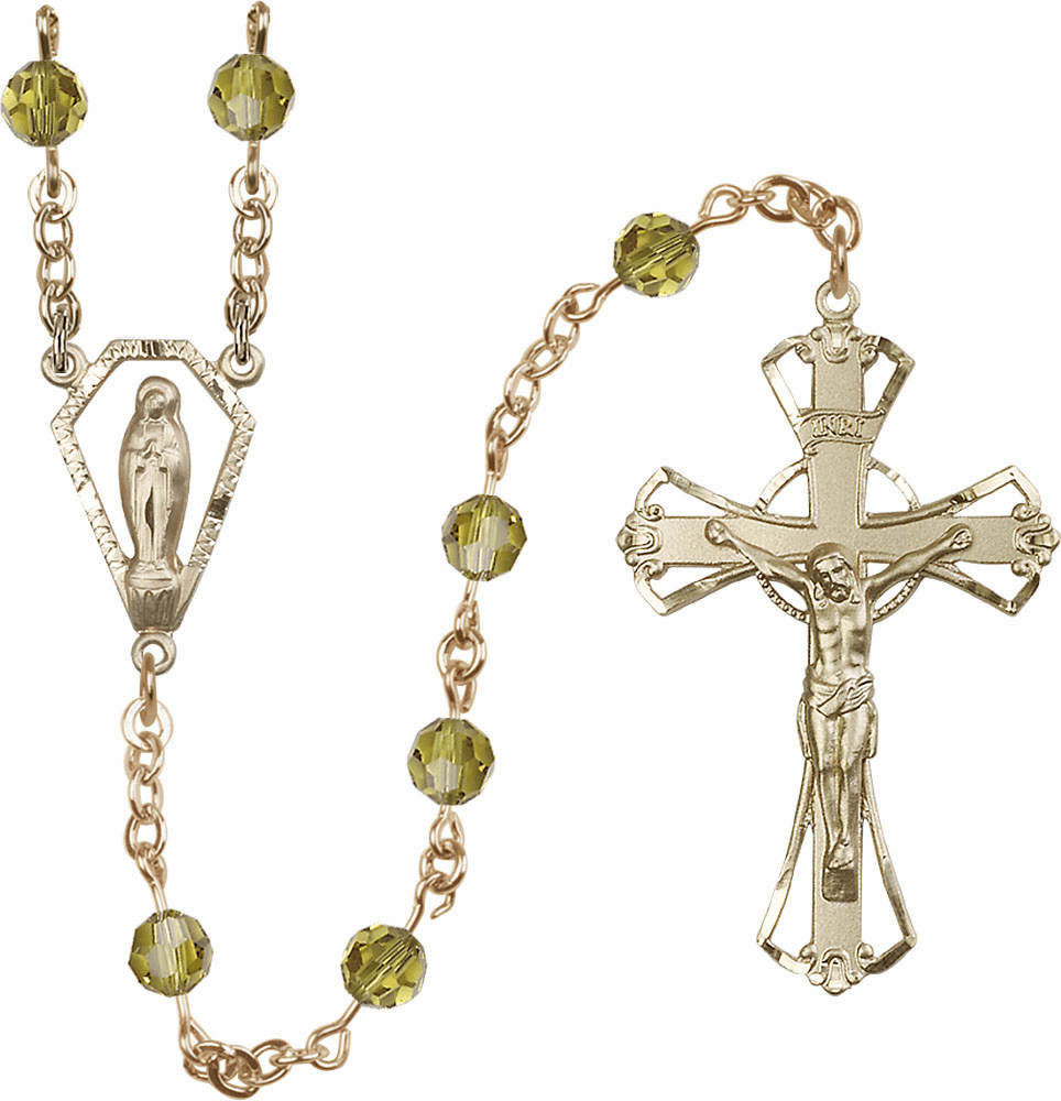 Lime 6mm AB Swarovski 14kt Gold Praying Madonna Catholic Rosary by Bliss