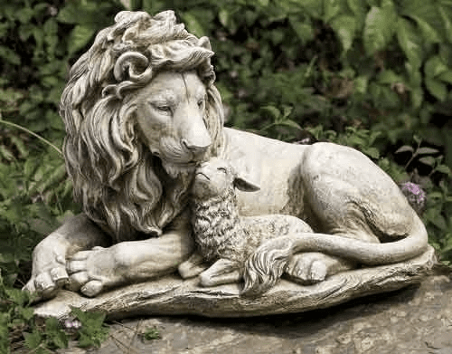 Lion and the Lamb Outdoor Garden Statue by Joseph Studio