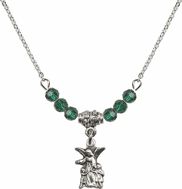 Littlest Angel Charm with 6 Crystal Bead Necklace by Bliss Mfg