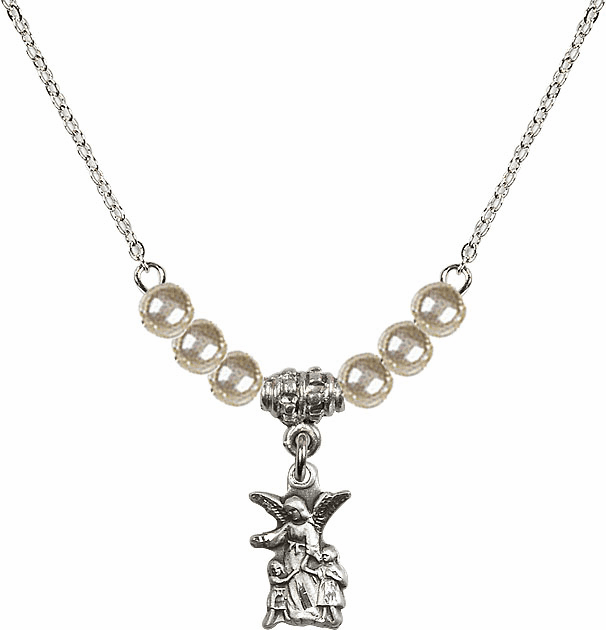 Littlest Angel Charm with 6 Faux Pearl Bead Necklace by Bliss Mfg