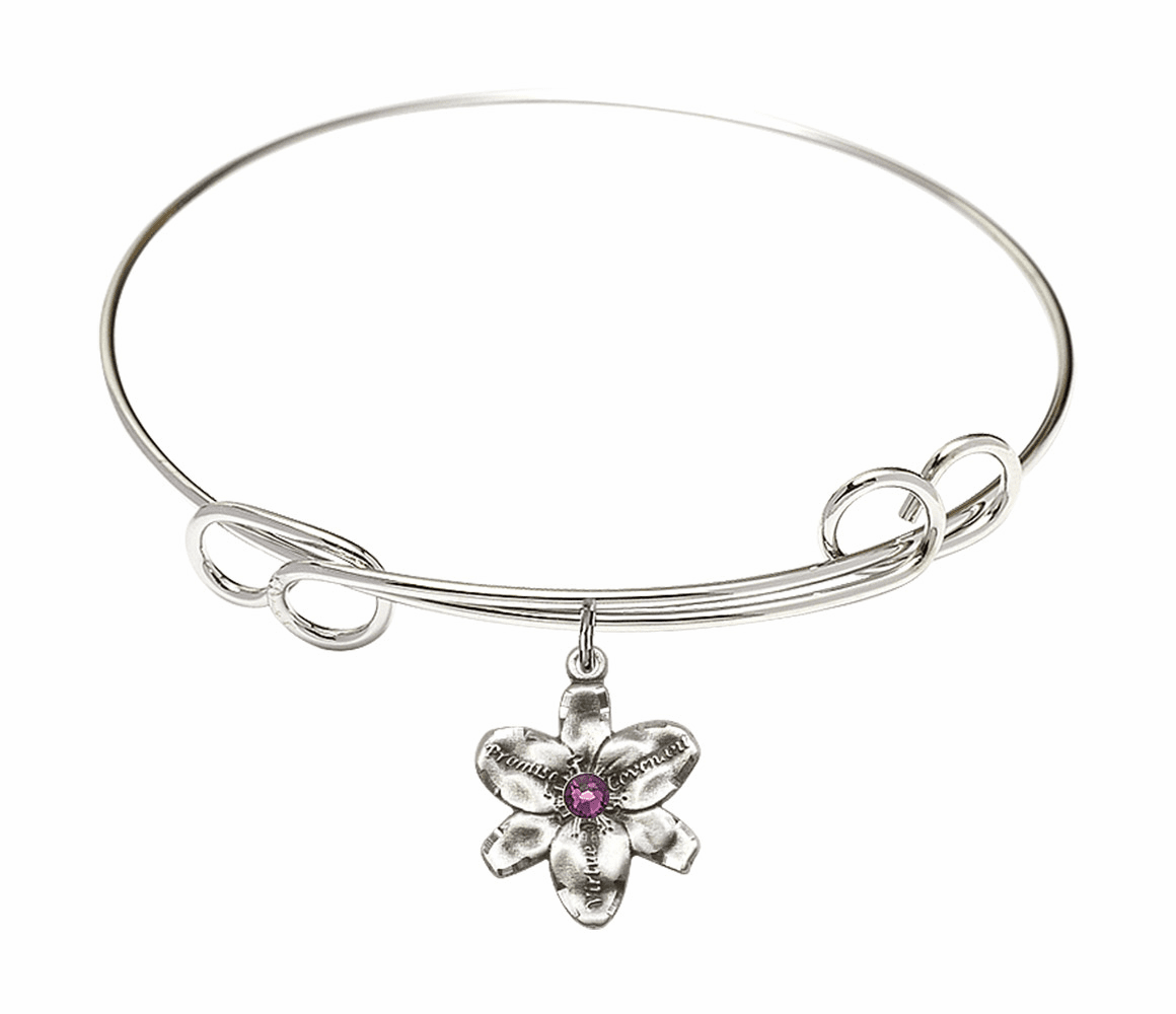 Loop Bangle Bracelet w/Amethyst Flower Chastity Charm by Bliss Mfg