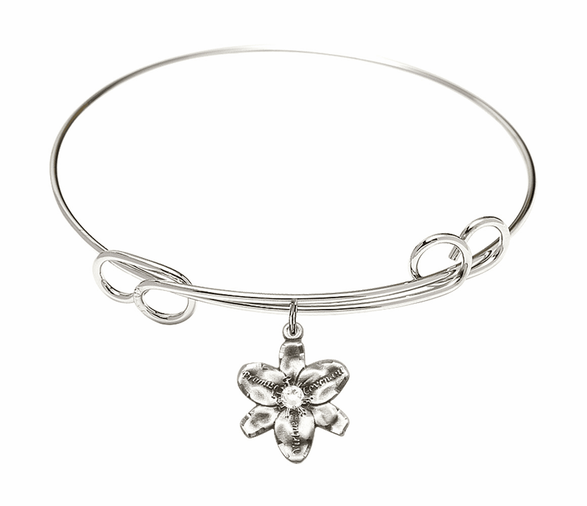 Loop Bangle Bracelet w/Crystal Flower Chastity Charm by Bliss Mfg