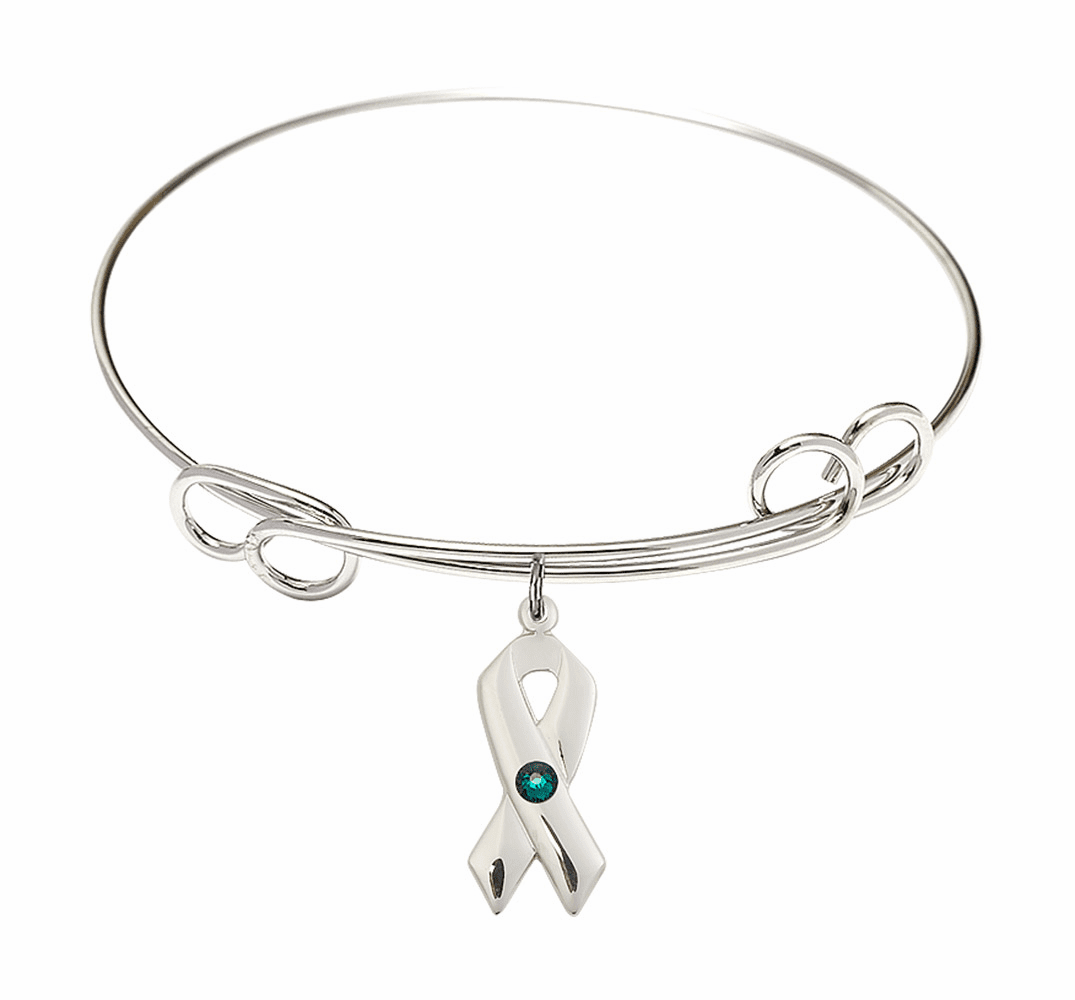 Loop Bangle Bracelet w/Emerald Cancer Awareness Ribbon Charm by Bliss Mfg