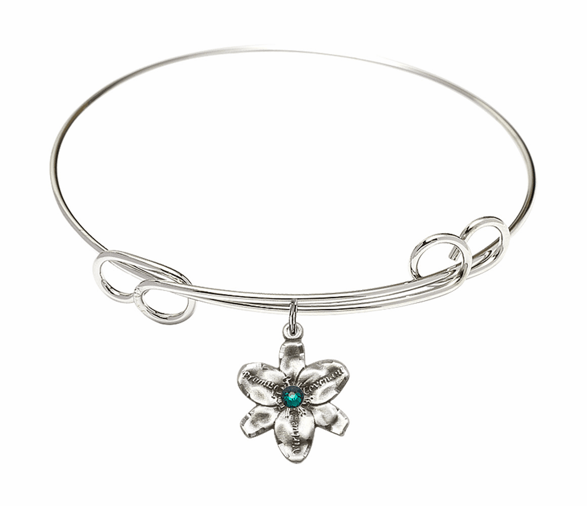 Loop Bangle Bracelet w/Emerald Flower Chastity Charm by Bliss Mfg