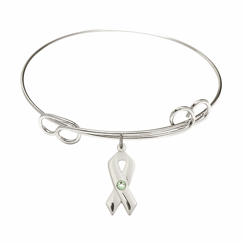 Loop Bangle Bracelet w/Peridot Cancer Awareness Ribbon Charm by Bliss Mfg