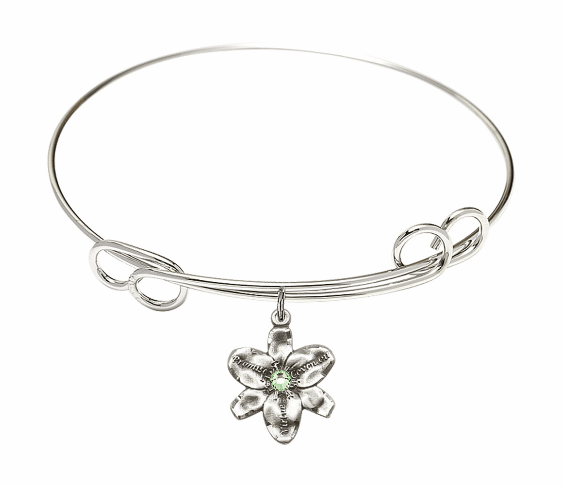 Loop Bangle Bracelet w/Peridot Flower Chastity Charm by Bliss Mfg