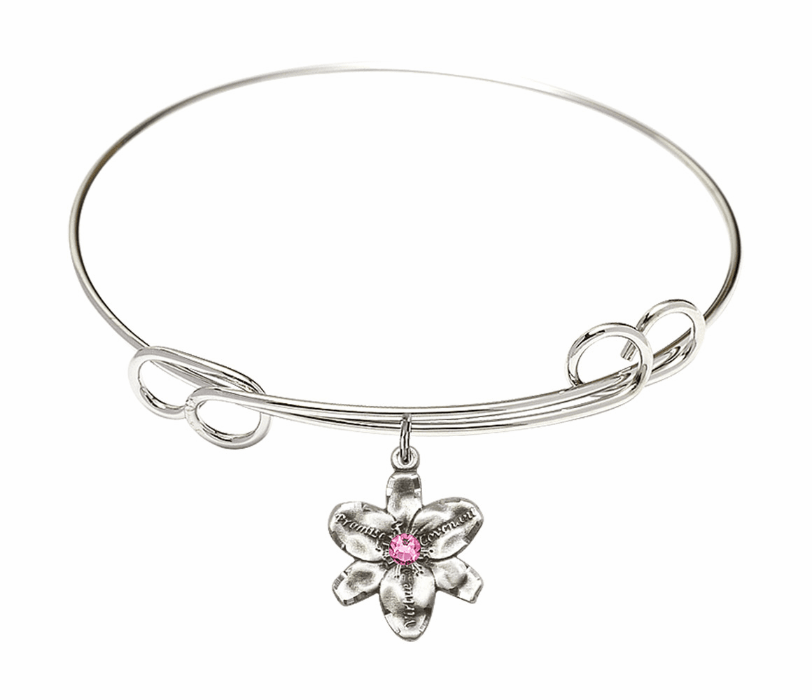 Loop Bangle Bracelet w/Rose Flower Chastity Charm by Bliss Mfg