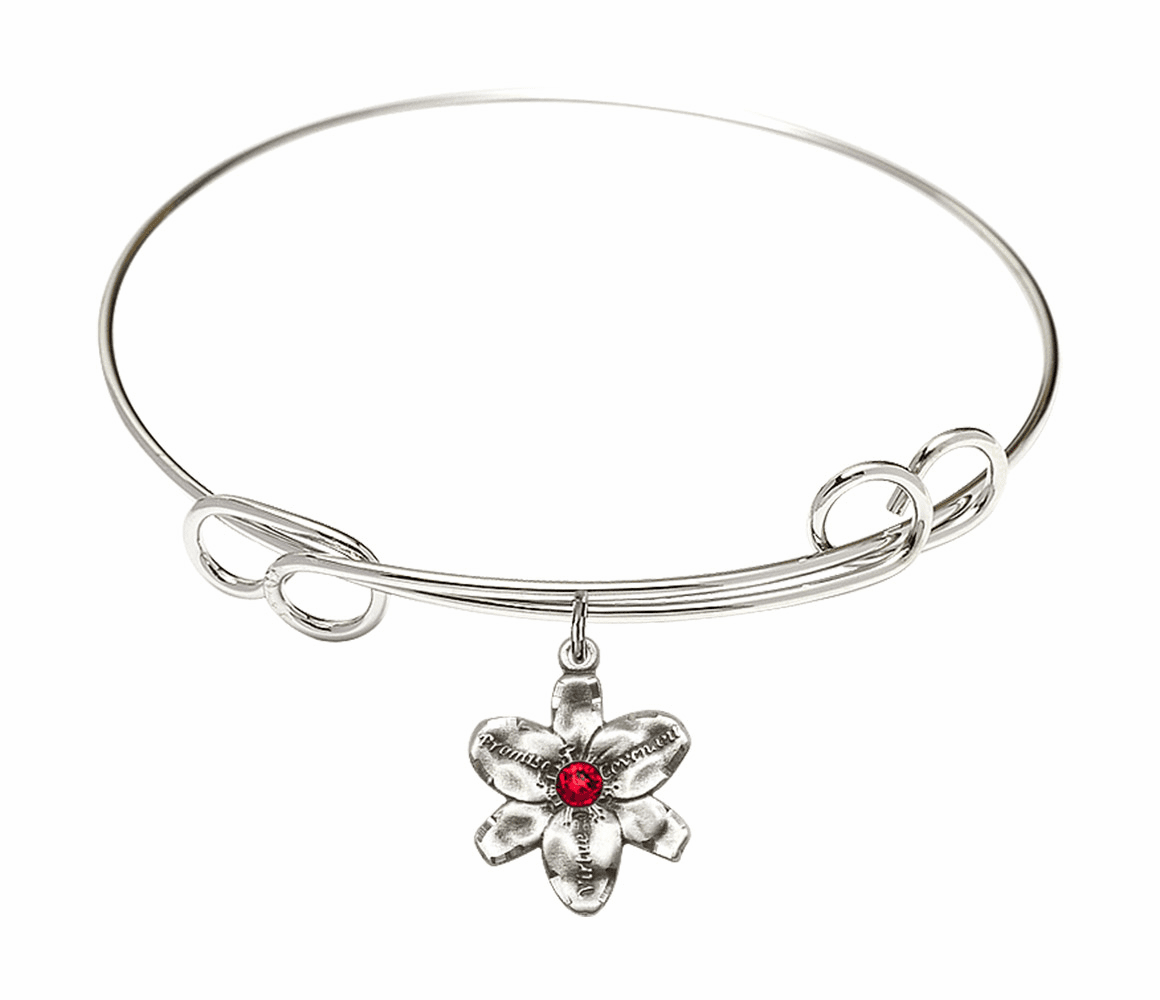 Loop Bangle Bracelet w/Ruby Flower Chastity Charm by Bliss Mfg