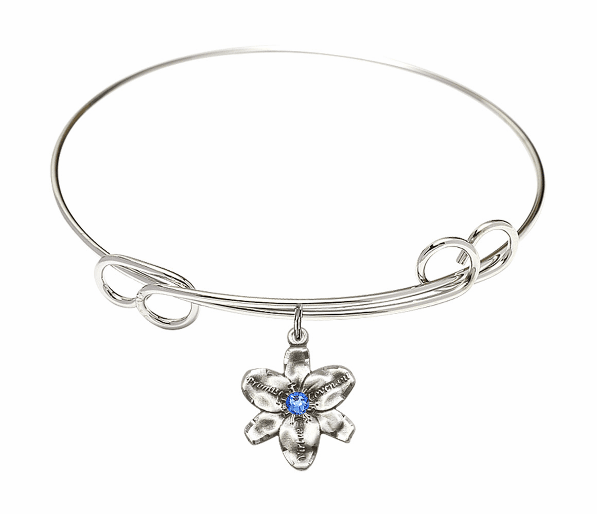 Loop Bangle Bracelet w/Sapphire Flower Chastity Charm by Bliss Mfg