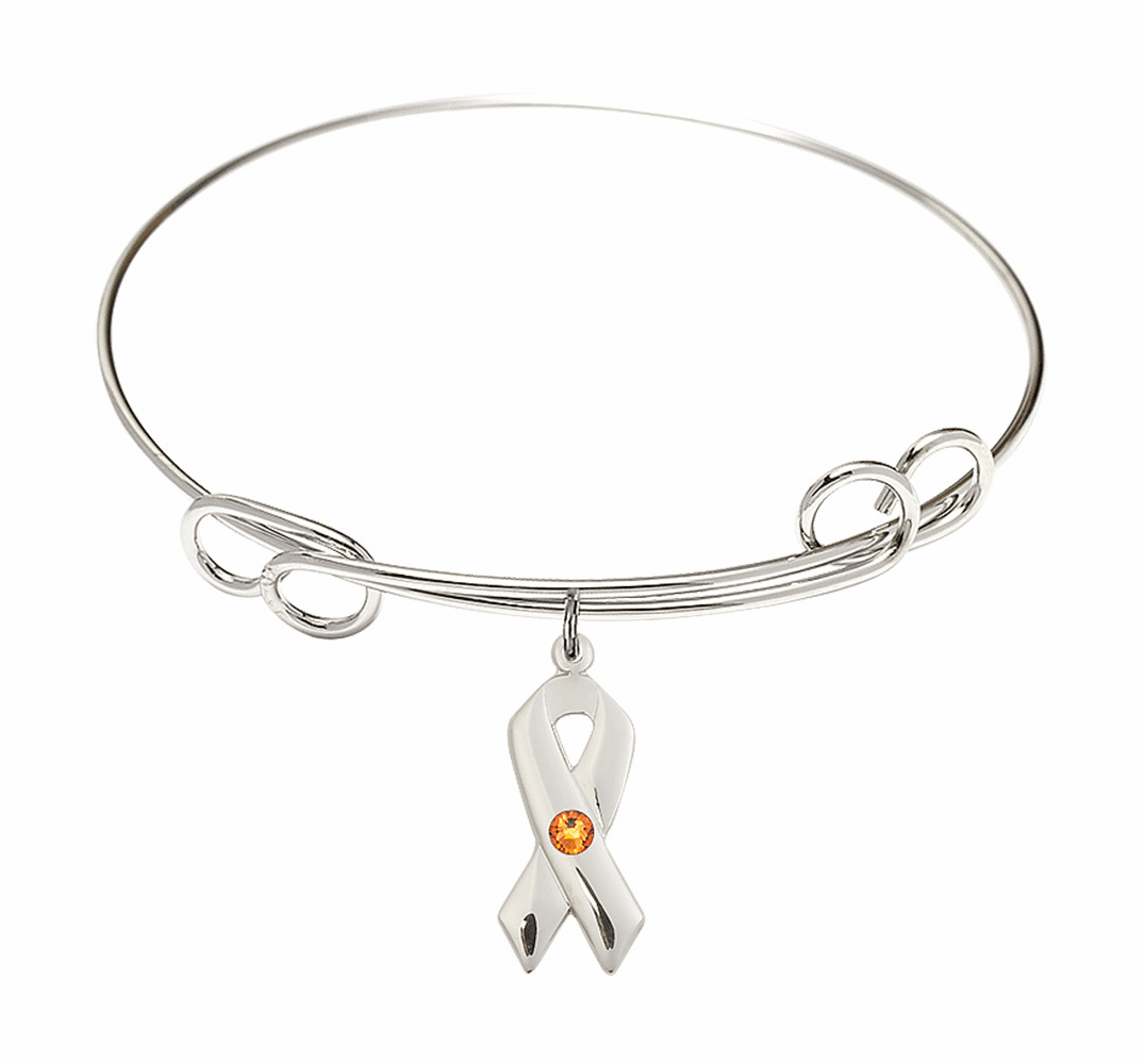 Loop Bangle Bracelet w/Topaz Cancer Awareness Ribbon Charm by Bliss Mfg