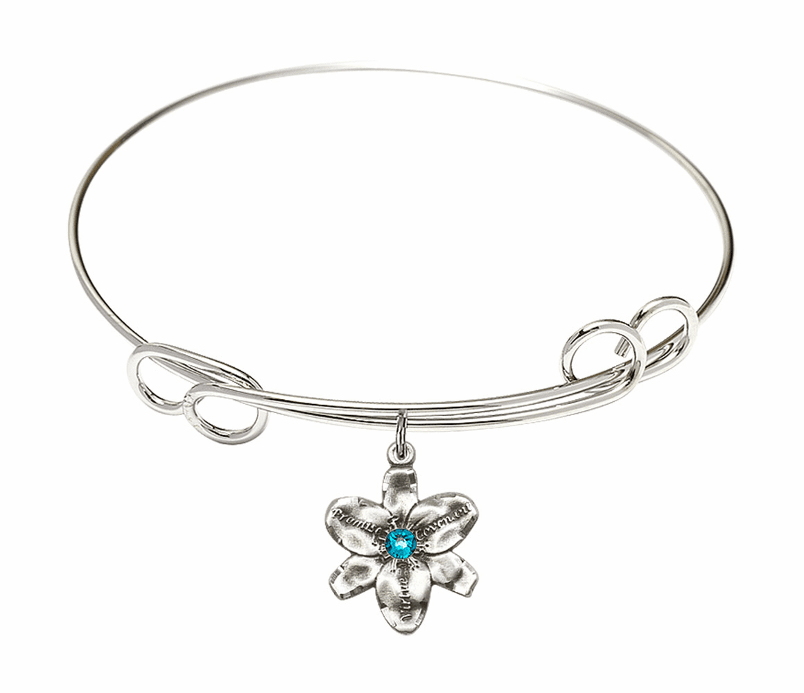 Loop Bangle Bracelet w/Zircon Flower Chastity Charm by Bliss Mfg