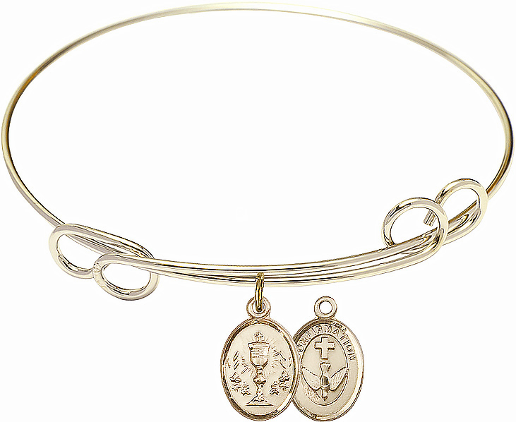 Loop Chalice Confirmation Bangle 14kt Gold-filled Charm Bracelet by Bliss