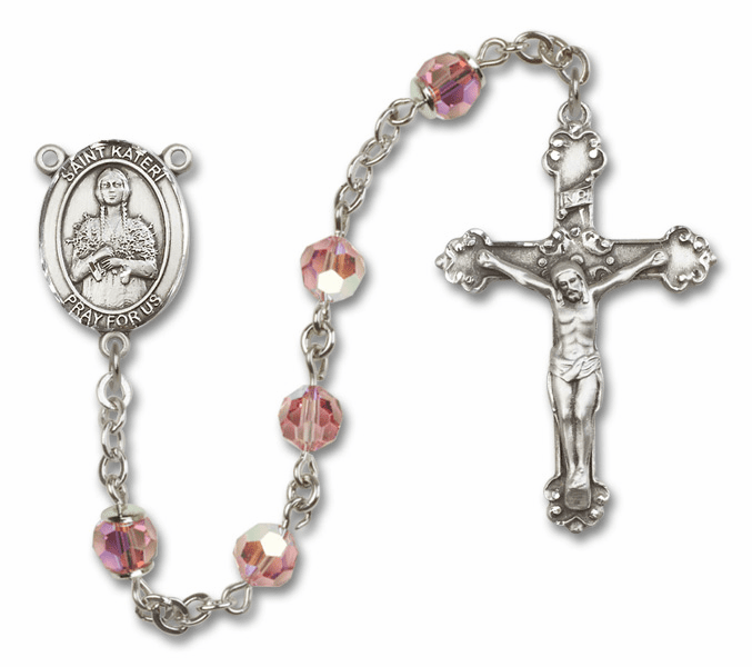 Lt Rose Swarovski Patron Saint Sterling Silver Rosary by Bliss