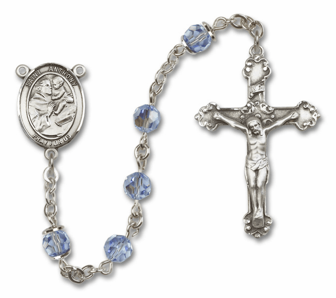 Lt Sapphire Swarovski Patron Saint Sterling Silver Rosary by Bliss