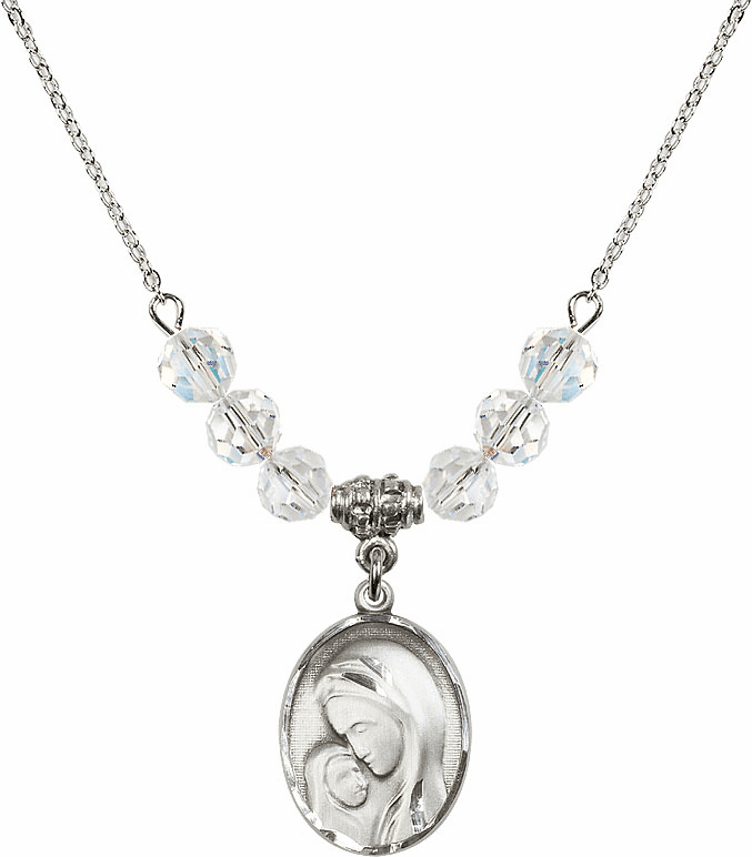 Madonna and Child Sterling Silver April Swarovski Crystal Beaded Necklace by Bliss Mfg