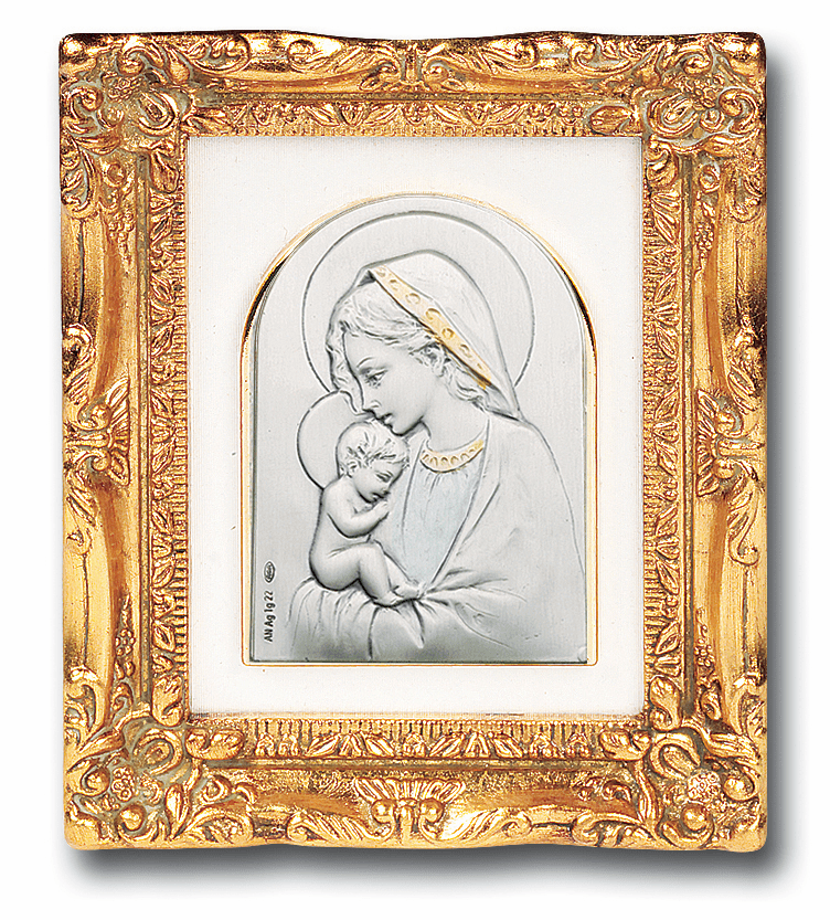 Madonna and Child Sterling Silver Image w/Antique Gold Leaf Frame Picture by Salerni