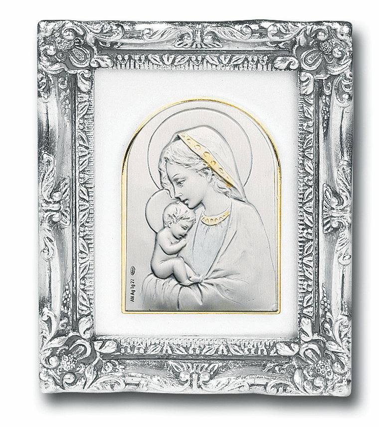 Madonna and Child Sterling Silver Image w/Antique Silver Frame Picture by Salerni